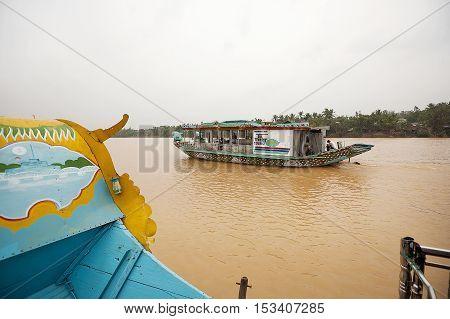 Hue, Vietnam-October 17, 2009. Tourist river boat on the Perfume River, Hue, Vietnam