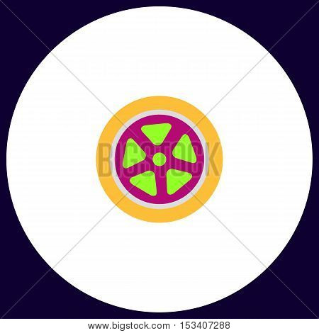 wheel Simple vector button. Illustration symbol. Color flat icon