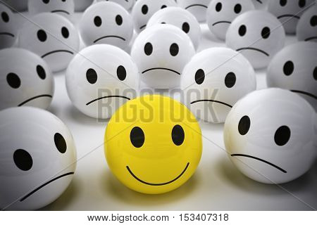 3D Rendering yellow ball with smile face among so many white sad balls. happy leader supports his negative team