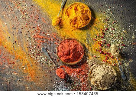Mess With Vivid Spices On Old Board