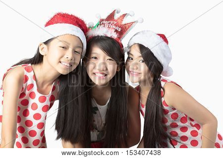 Happy children Christmas and new year event Isolated over white