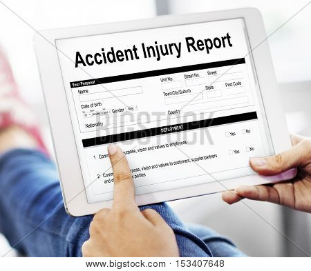 Accident Injury Report Form Information Concept