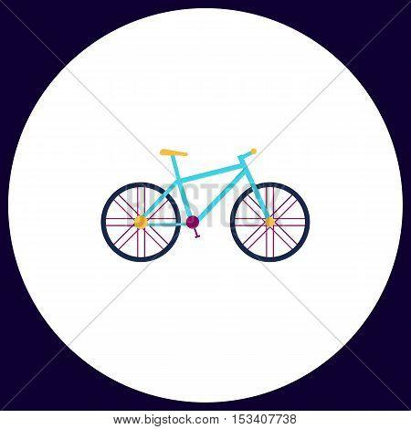 bike Simple vector button. Illustration symbol. Color flat icon