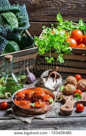 Meatballs With Tomato Sauce And Parsley And Ingredients