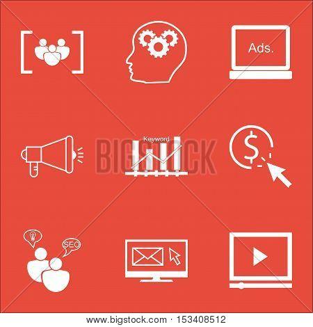 Set Of Advertising Icons On Brain Process, Digital Media And Seo Brainstorm Topics. Editable Vector