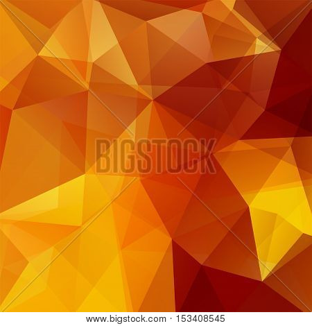 Background Made Of Yellow, Orange, Brown Triangles. Square Composition With Geometric Shapes. Eps 10