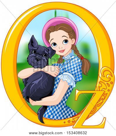 Dorothy and Toto. Wizard of Oz illustration