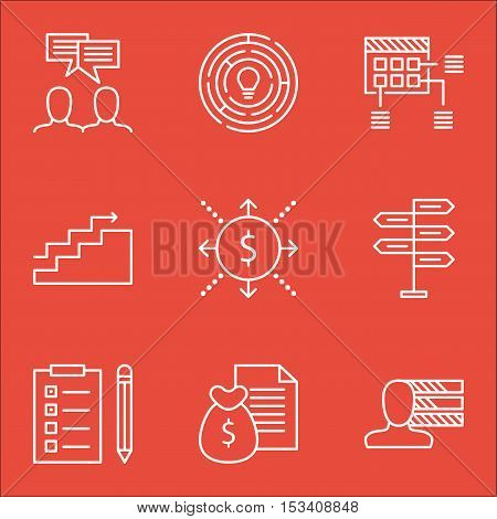 Set Of Project Management Icons On Opportunity, Growth And Schedule Topics. Editable Vector Illustra