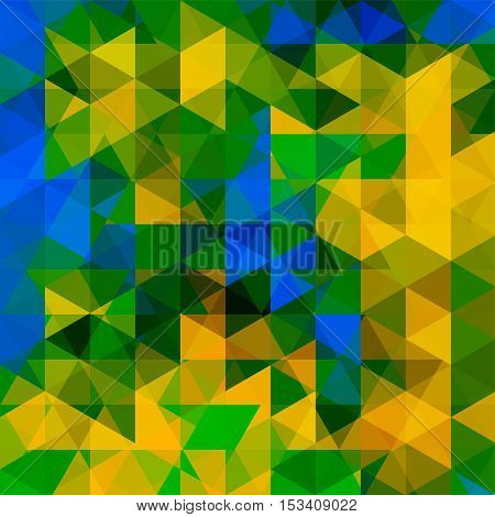 Abstract Background Consisting Of Yellow, Blue, Green Triangles. Geometric Design For Business Prese