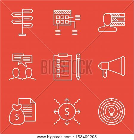 Set Of Project Management Icons On Money, Announcement And Personal Skills Topics. Editable Vector I