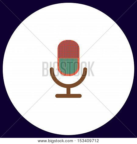 microphone Simple vector button. Illustration symbol. Color flat icon