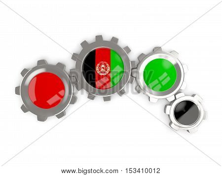 Flag Of Afghanistan, Metallic Gears With Colors Of The Flag
