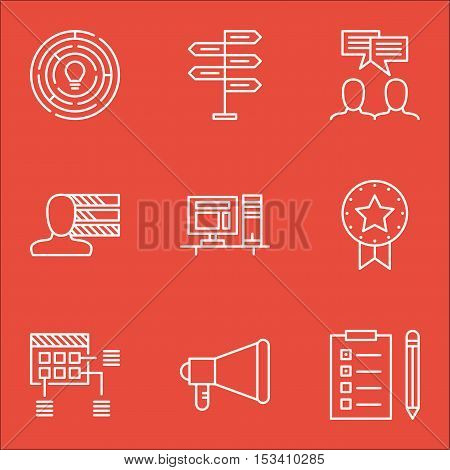Set Of Project Management Icons On Announcement, Schedule And Computer Topics. Editable Vector Illus