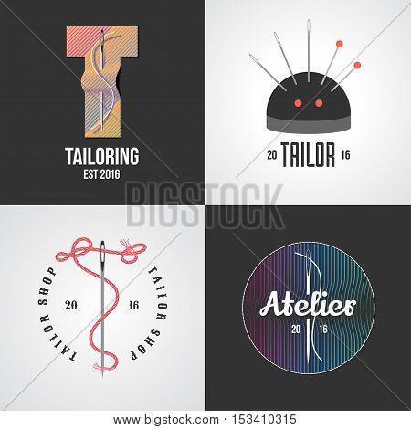 Set of tailor, atelier vector logo, icon, symbol, emblem, sign. Template graphic design elements for sewing service, tailoring shop