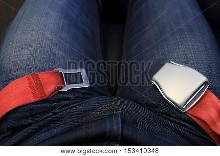 Unlocked Red Passenger Airplane Belt