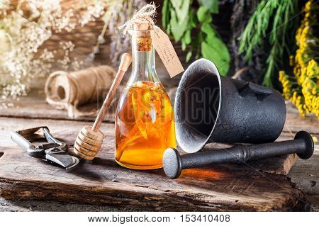 Therapeutic Tincture In Bottles Made Of Honey