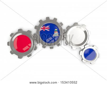 Flag Of Cayman Islands, Metallic Gears With Colors Of The Flag