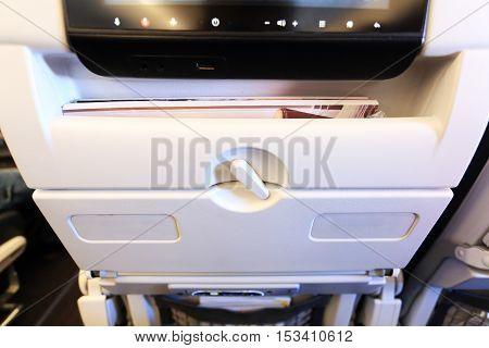 Locked White Passenger Airplane Table