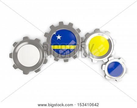 Flag Of Curacao, Metallic Gears With Colors Of The Flag
