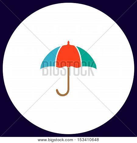 Umbrella Simple vector button. Illustration symbol. Color flat icon