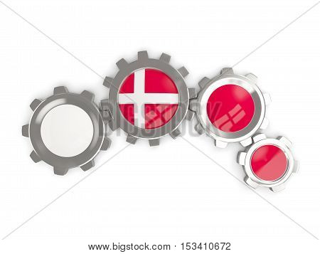 Flag Of Denmark, Metallic Gears With Colors Of The Flag