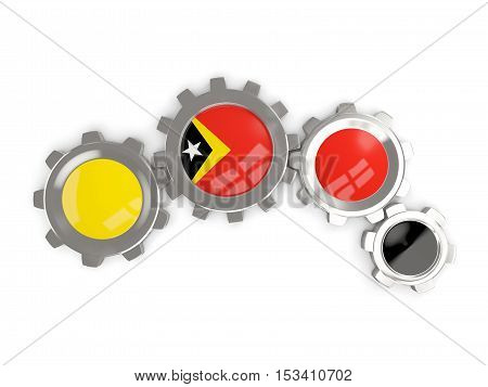 Flag Of East Timor, Metallic Gears With Colors Of The Flag