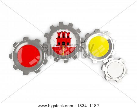 Flag Of Gibraltar, Metallic Gears With Colors Of The Flag