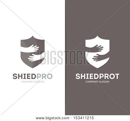 Vector shield and hands logo combination. Security and embrace symbol or icon. Unique protect and defense logotype design template.