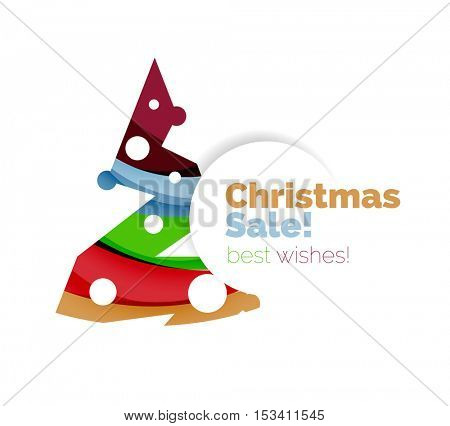 Christmas sale, vector greeting card or banner. Vector New Year elements with white copyspace