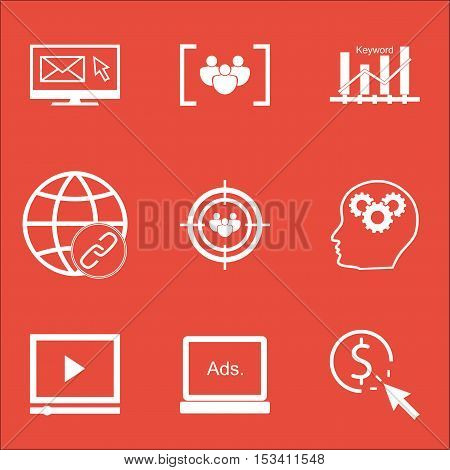 Set Of Marketing Icons On Connectivity, Focus Group And Ppc Topics. Editable Vector Illustration. In