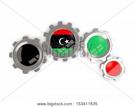 Flag Of Libya, Metallic Gears With Colors Of The Flag