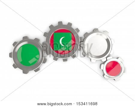 Flag Of Maldives, Metallic Gears With Colors Of The Flag