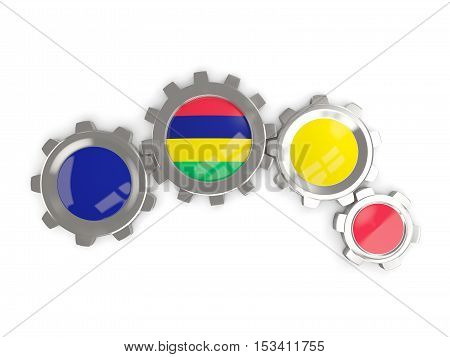 Flag Of Mauritius, Metallic Gears With Colors Of The Flag