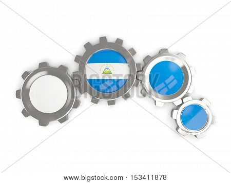 Flag Of Nicaragua, Metallic Gears With Colors Of The Flag