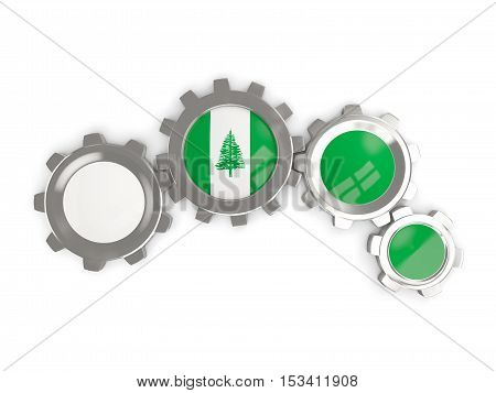 Flag Of Norfolk Island, Metallic Gears With Colors Of The Flag
