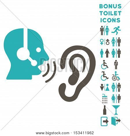 Listen Operator icon and bonus gentleman and lady toilet symbols. Vector illustration style is flat iconic bicolor symbols, grey and cyan colors, white background.