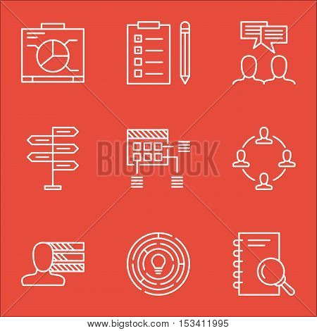 Set Of Project Management Icons On Personal Skills, Collaboration And Discussion Topics. Editable Ve