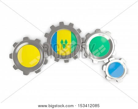 Flag Of Saint Vincent And The Grenadines, Metallic Gears With Colors Of The Flag