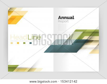 Geometric business annual report templates, modern brochure flyer template. Vector illustration