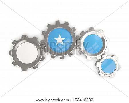 Flag Of Somalia, Metallic Gears With Colors Of The Flag