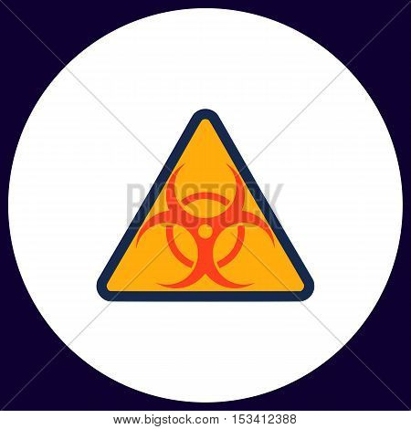 Biohazard Simple vector button. Illustration symbol. Color flat icon