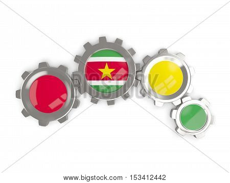 Flag Of Suriname, Metallic Gears With Colors Of The Flag