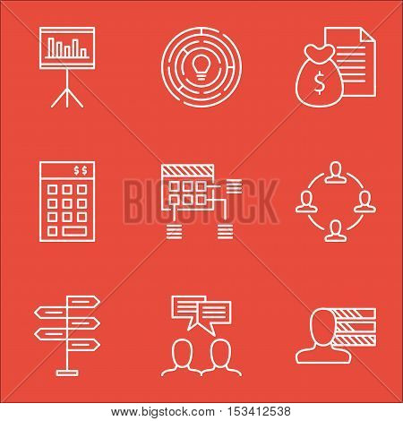 Set Of Project Management Icons On Personal Skills, Collaboration And Presentation Topics. Editable