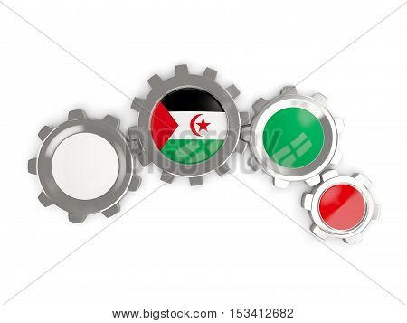 Flag Of Western Sahara, Metallic Gears With Colors Of The Flag
