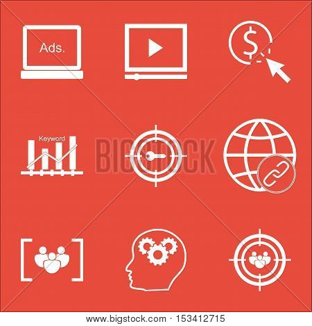 Set Of Advertising Icons On Video Player, Connectivity And Digital Media Topics. Editable Vector Ill