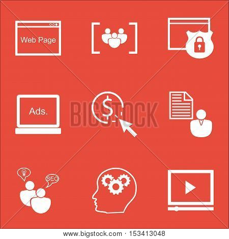 Set Of Advertising Icons On Ppc, Security And Seo Brainstorm Topics. Editable Vector Illustration. I