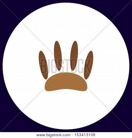 Animals footprints Simple vector button. Illustration symbol. Color flat icon