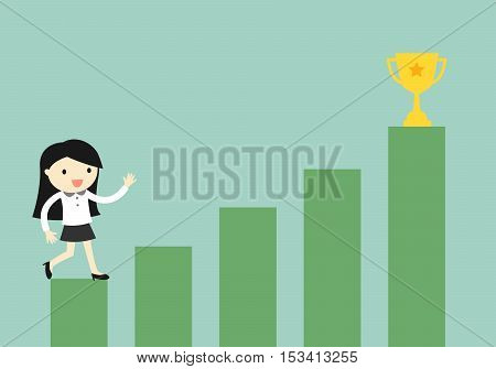 Business concept, Business woman climbing the stairs to the gold cup. Vector illustration.