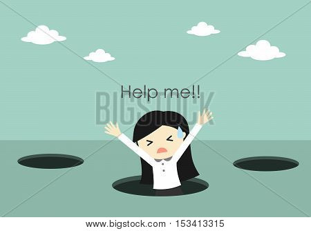Business concept, Business woman fall into the hole and need help. Vector illustration.