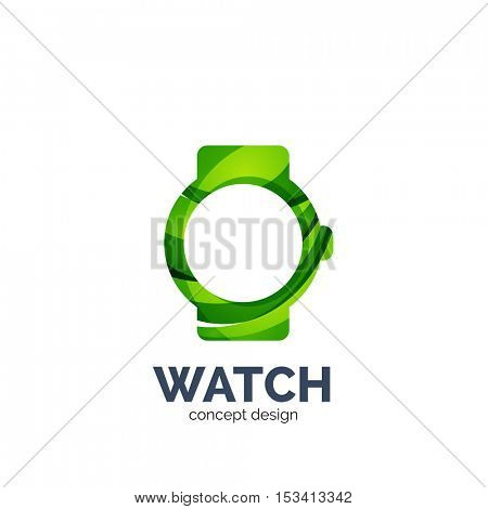 Vector watch logo template, elegant geometric design